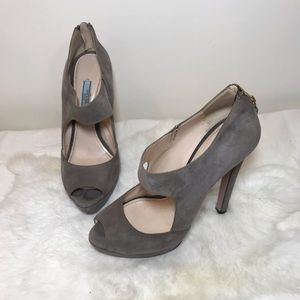 Prada Neutral Gray Suede Peep Toe Heels 38.5 M